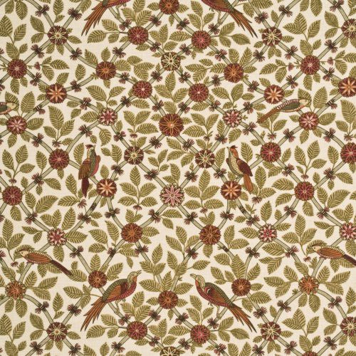 G P & J Baker Bamboo Bird Coral/Biscuit Fabric - Fabric