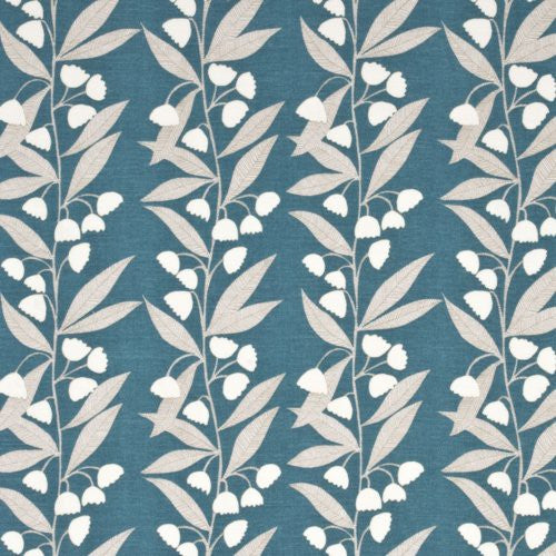 Baker Lifestyle Bell Flower Teal Fabric - Fabric