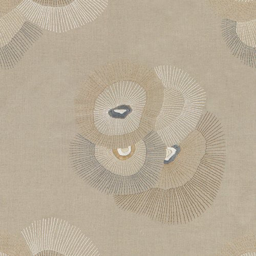 Groundworks Bloom Emb Linen/Graphite Fabric - Fabric