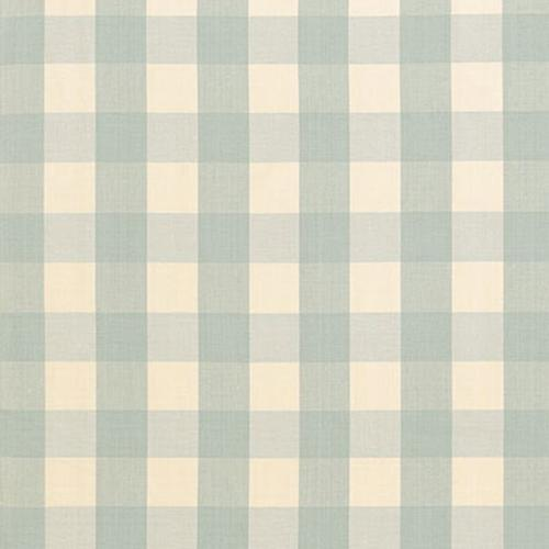 Schumacher Camden Cotton Check Aqua Fabric - Fabric