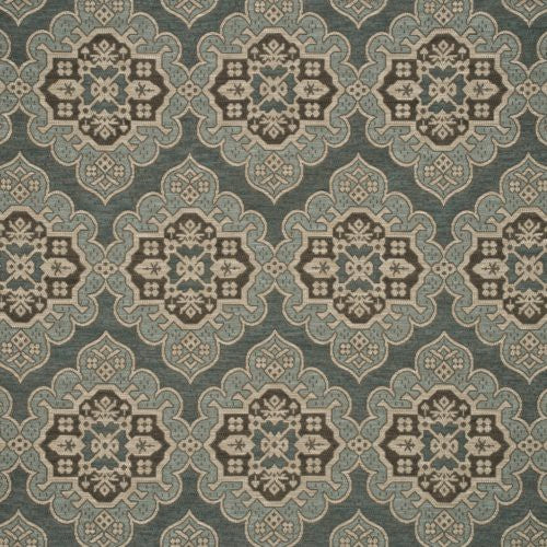 Mulberry Constantinople Teal/Bronze Fabric - Fabric