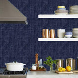 Phillip Jeffries Vinyl Madagascar Raffia Zulu Blue Wallpaper