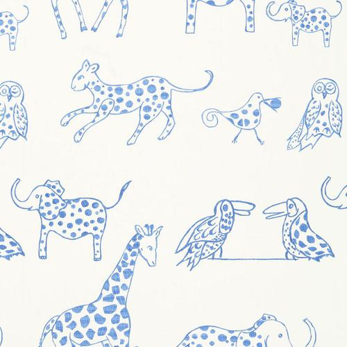 Schumacher Jungle Jubilee Sky Fabric - Fabric
