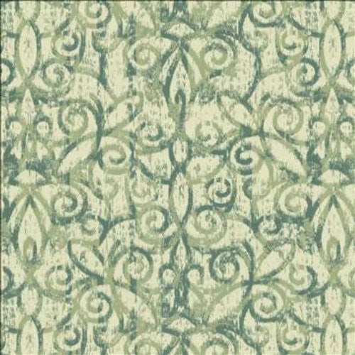 Kasmir A Morning Scroll Spruce Fabric - Fabric