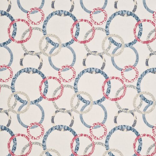 Baker Lifestyle Roundel Cherry/Denim/Cream Wallpaper - Wallpaper