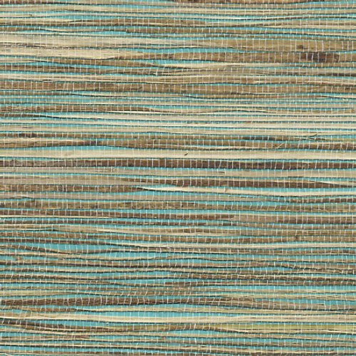 Phillip Jeffries Grass Roots Tess Turquoise Wallpaper - Wallpaper