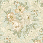 Scalamandre Painted Flowers Damask Light Green Wallpaper