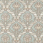 Schumacher Siena Damask Aqua Wallpaper