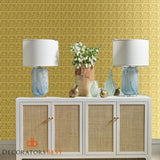 Scalamandre Gold Leaf Squares Antique Gold Wallpaper