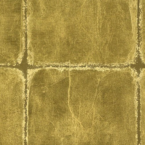 Scalamandre Gold Leaf Squares Antique Gold Wallpaper - Wallpaper