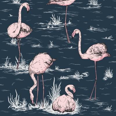 Cole & Son Flamingos Ink/Plaster Pink Wallpaper - Wallpaper