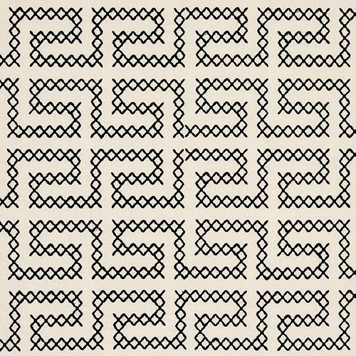 Schumacher A Maze Embroidery Black On Ivory Fabric - Fabric