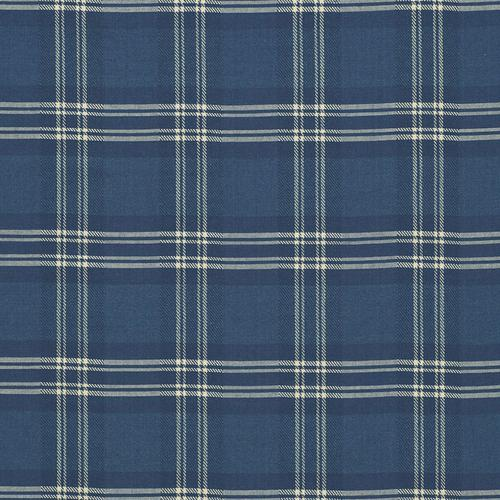 Schumacher Check Rustique Atlantic Blue Fabric - Fabric