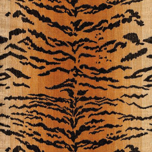 Old World Weavers Tiger Black On Gold Fabric - Fabric