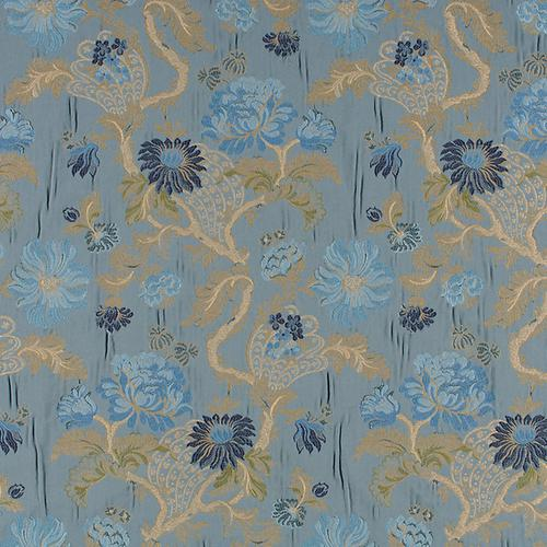 Old World Weavers Palazzo Pamphily Lampas Lagoon Fabric - Fabric