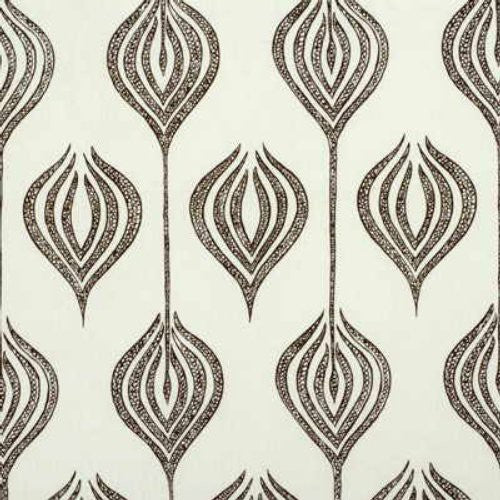 Groundworks Tulip White/Chocolate Fabric - Fabric