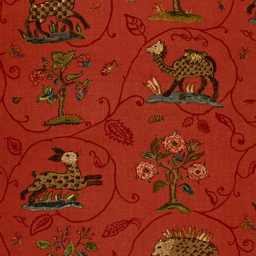 Schumacher La Menagerie Flame Red Fabric - Fabric