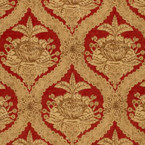 Schumacher Haddon Hall Damask Venetian Red Fabric - Fabric