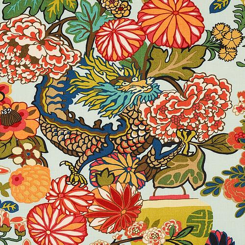 Schumacher Chiang Mai Dragon Aquamarine Fabric - Fabric