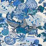 Schumacher Chiang Mai Dragon China Blue Fabric
