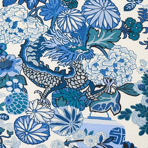 Schumacher Chiang Mai Dragon China Blue Fabric - Fabric
