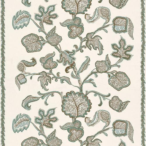 Schumacher Palampore Block Print Teal Fabric - Fabric