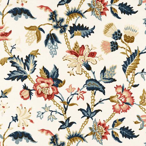 Schumacher Alana Floral Vine Document Fabric - Fabric