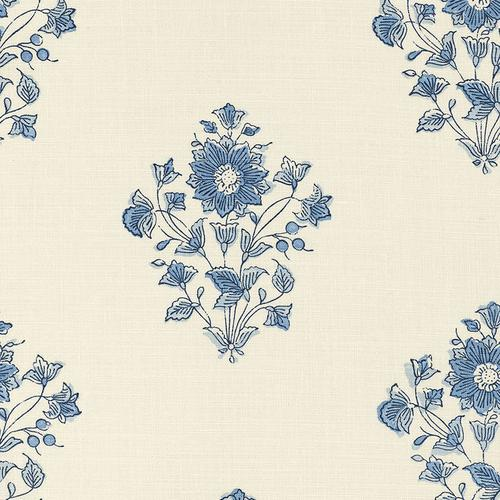 Schumacher Beatrice Bouquet Indigo Fabric - Fabric