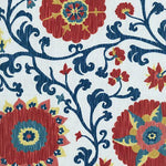 Schumacher Fergana Embroidery Print Prussian Fabric