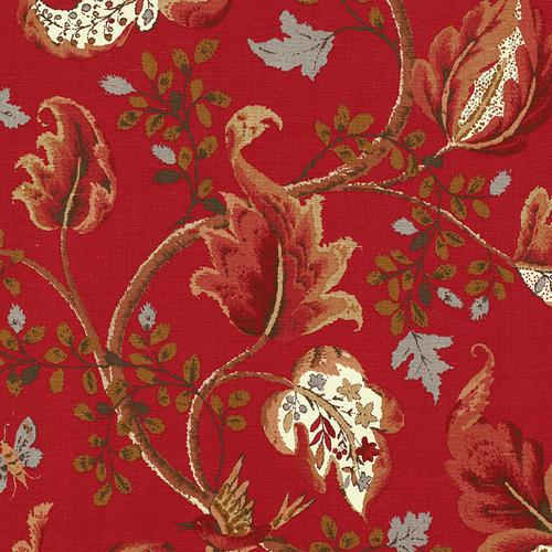 Schumacher Fox Hollow Tomato And Brass Fabric - Fabric