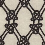 Schumacher Gordian Weave Ebony On Greige Fabric
