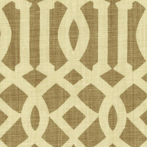 Schumacher Imperial Trellis Natural/Coffee Fabric - Fabric