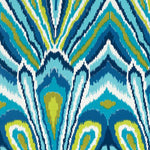 Schumacher Peacock Print Pool Fabric