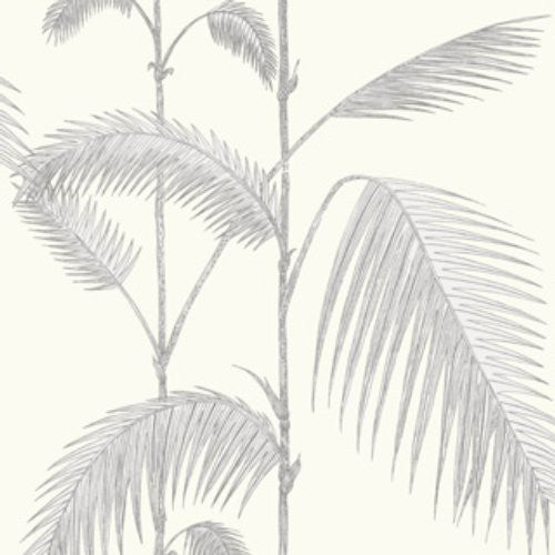 Cole & Son Palm Grey/White Wallpaper - Wallpaper