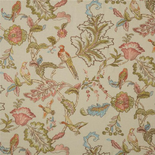 Mulberry Early Birds Embroidery Natural Fabric - Fabric