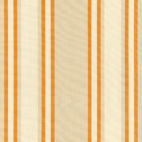 Schumacher Seneca Cotton Stripe Beige/Pumpkin Fabric - Fabric