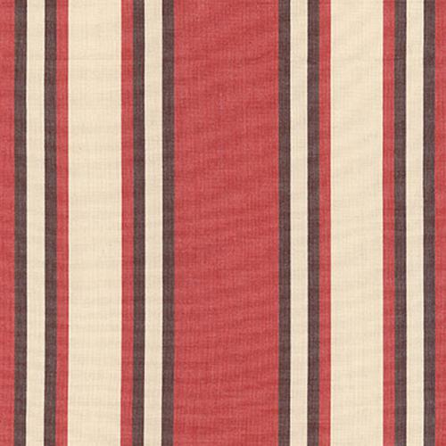 Schumacher Seneca Cotton Stripe Red/Java Fabric - Fabric