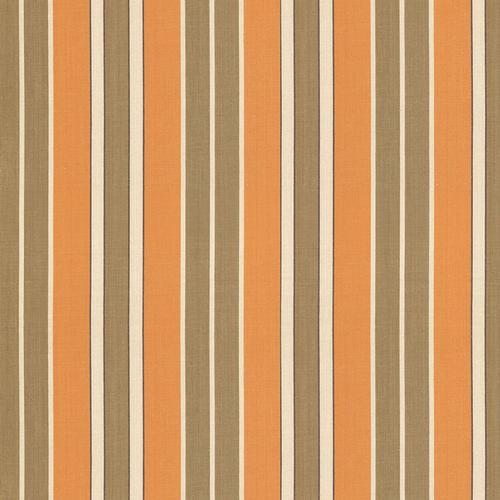 Schumacher Beacon Cotton Stripe Pumpkin/Mocha/Java Fabric - Fabric