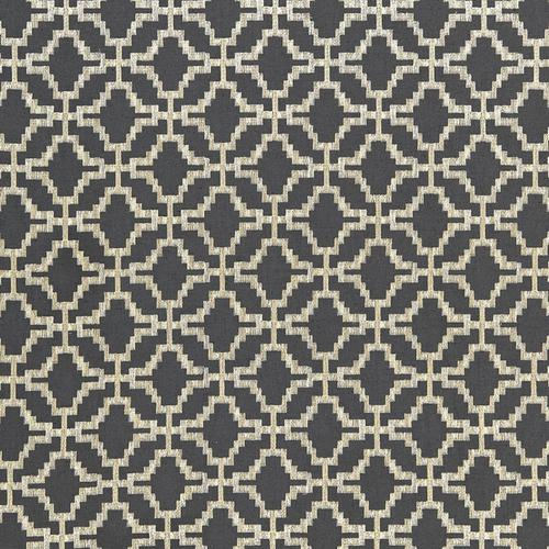 Schumacher Sarana Linen Embroidery Carbon Fabric - Fabric