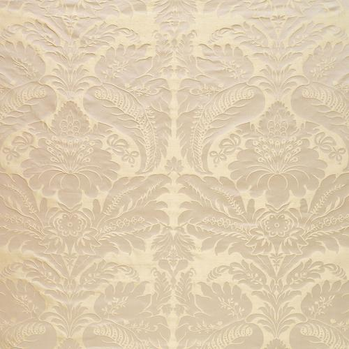 Schumacher Bennet Silk Damask Platinum Fabric - Fabric