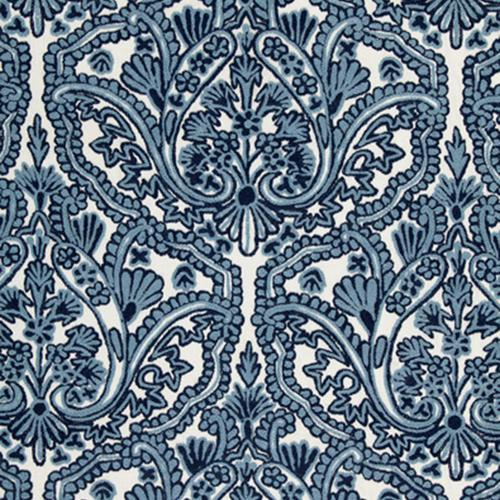 Schumacher Claremont Crewel Embroidery Delft Fabric - Fabric