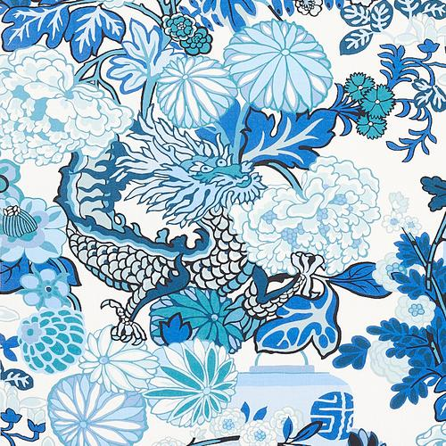 Schumacher Chiang Mai Indoor/Outdoor China Blue Fabric - Fabric