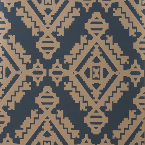 Groundworks Navajo Indigo Wallpaper - Wallpaper