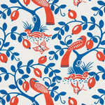 Schumacher Olive Tree Blue & Red Fabric