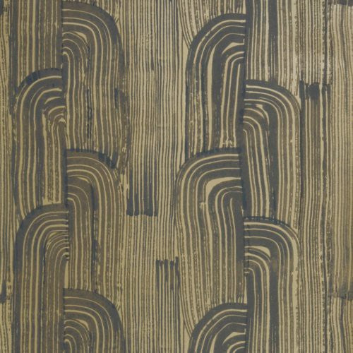 Groundworks Crescent Paper Ebony/Gold Wallpaper - Wallpaper