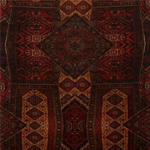 Mulberry Velvet Oriental Carpet Red Fabric - Fabric