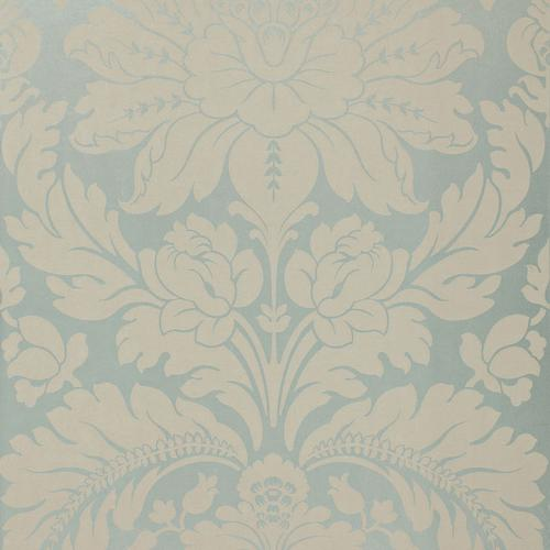 Schumacher Anvers Damask Azure Fabric - Fabric