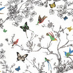 Schumacher Birds & Butterflies Multi On White Fabric
