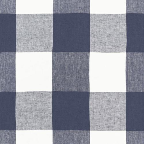 Schumacher Key Largo Check Navy Fabric - Fabric