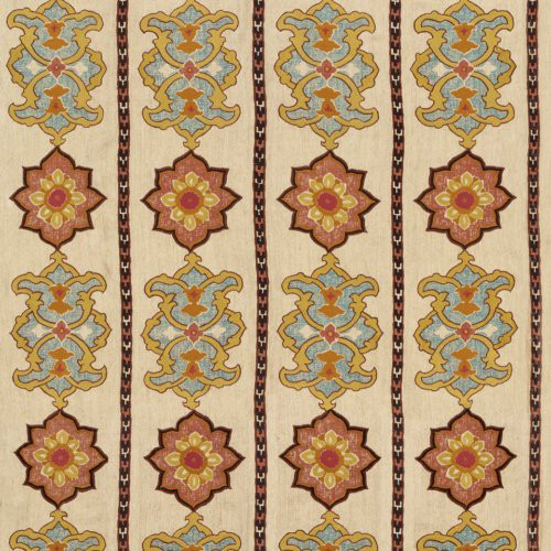 Schumacher Temara Embroidered Print Spice Fabric - Fabric